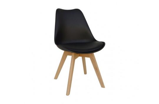 Καρέκλα Κουζίνας Logan Plus Μάυρη